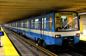 An MR-63 metro car idles at the end of Line 4 - Yellow.